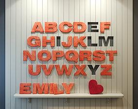 Wood panel English alphabet Pink 3D model