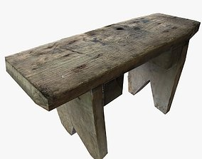 Vintage Square Wooden Stool Low Poly 3D model