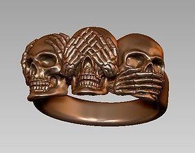 skull ring - 3 skull concept 3D printable model