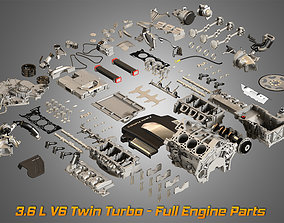 Twin Turbo V6 Engine Parts 3D model
