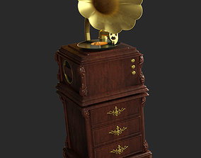 Old gramophone 3D model game-ready