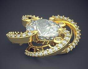 Flower Shape Pendant With Diamonds 1368 3D print model