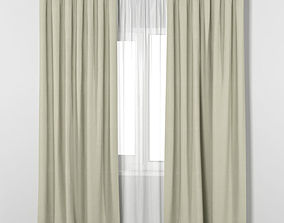 3D model IKEA VILBORG beige thick curtains made of