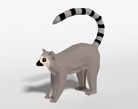 Low Poly Cartoon Ring Tailed Lemur 3D model low-poly