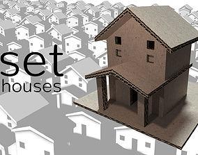 3D asset cardboard house SET