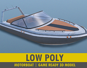 Motorboat ship 3D model low-poly
