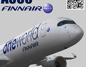 Airbus A350-900 XWB Finnair oneworld 3D model animated