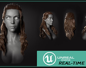 FemaleHairstyle 3D model rigged