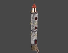 3D asset Stylized vintage brick lighthouse