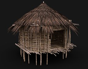 3D asset SIMPLE TRIBAL JUNGLE PRIMAL HUT HOUSE REED TREE