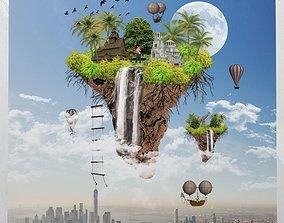 Canvas Art Surreal Floating Island 3D asset