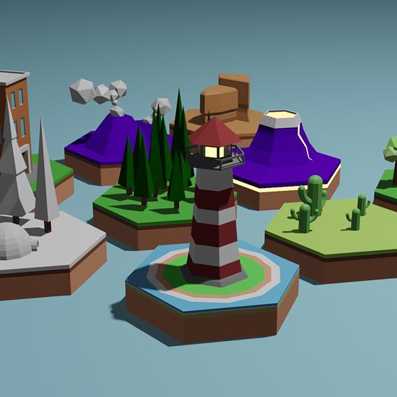 Cartoon islands low poly set