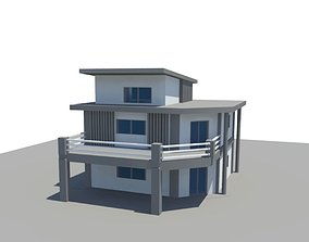 3D asset low-poly House exterior curved