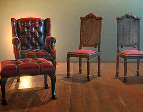 Antique gothic chairs 3D model realtime