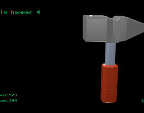 3D model Low poly hammer 4