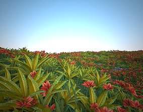 Big Grass and red Flower for the Environment 3D asset