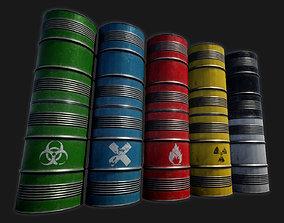 3D model game-ready Low-poly PBR Metal Barrel