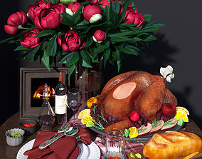 3D Holiday Christmas flower and food decoration