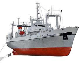 3D Large fishing freezer trawler watercraft