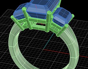 3D print model Three Gem Ring