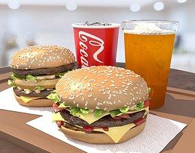 3D model Burgers cola and beer fastfood set