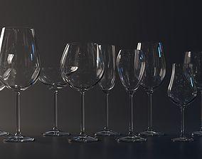Set of wine glasses 3D