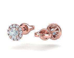 Stud Earrings French Pave Setting 4mm Stone 3D print model