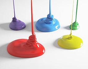 3D model Flowing Paint Set