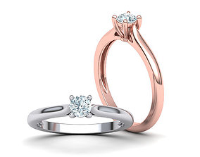 3D print model Classic Solitaire ring 4mm round stone 1