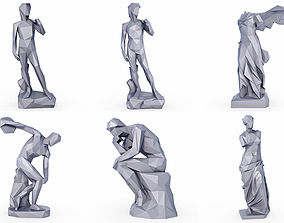 3D asset Sculptures Low Poly