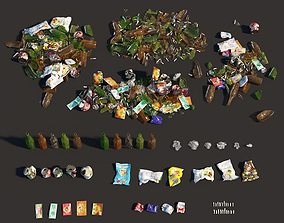 3D asset Garbage set