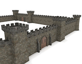 3D model realtime Castle Walls - Modular Set