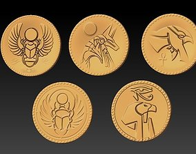 Egyptian gold coins 3D print model