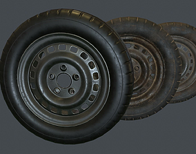 3D asset Rubber Tire With Rim PBR Game Ready