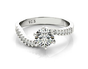 ring cad round solitaire engagement ring 3dm file for