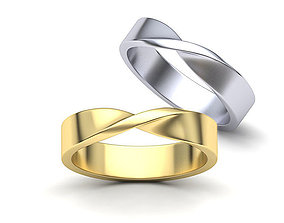 Mobius Wedding Mens Ring 5mm wide band 3dmodel
