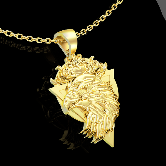Eagle Medallion Pendant jewelry Gold 3D print model
