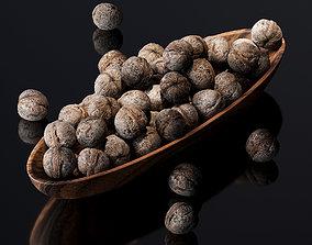Walnut v2 in a wooden nut bowl 3D asset