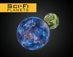 Sci-Fi Planets and Asteroids 3D asset VR / AR ready
