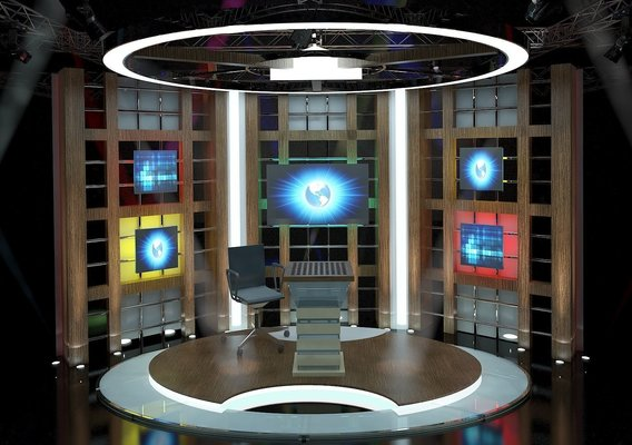 3D Virtual TV Studio Chat Set 3