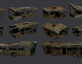 3 Apocalyptic Damaged Destroyed Vehicle Bus 3D asset 3