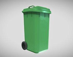 Green Plastic Waste Bin 240 Liters 1075x515x582 3D model