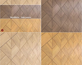 3D model wooden wall panels woodwalls Tulip