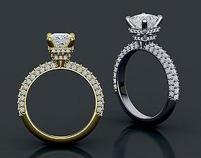 Princess 1ct Engagement ring 3d model
