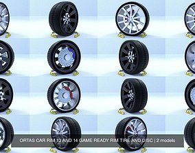 ORTAS CAR RIM 13 AND 14 GAME READY RIM TIRE AND 3D model