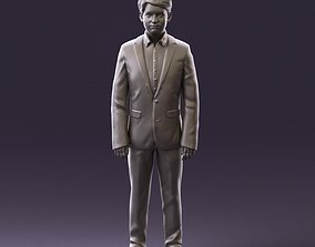 000982 serious young boy in blue suit 3D Print