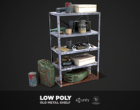 3D asset Metal Shelf Collection - Modular Game ready props