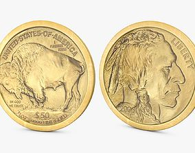 Gold Buffalo 50 Dollar Coin 3D model