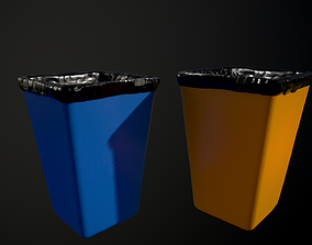 office 3D model low-poly PBR Trash can