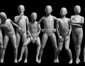 3D asset Animated Kid 7-20 Years Base Mesh V3 - 8 poses